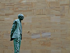 Statue on Stone (matthewblackwood10) Tags: statue glasgow stone copper green outside man scotland uk city street rain winter national sand sunday wet centre march