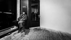 with oneself (Hendrik Lohmann) Tags: streetphotography street people urban urbanlife city citynights menschen monochrome minimalism blackandwhite bwstreet bnw bw düsseldorf nikon nikondf nikonphotographer thebox