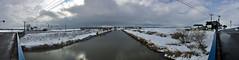 Down the Canal to Kitahiroshima (sjrankin) Tags: 16march2019 edited naganuma hokkaido japan snow animals birds swans panorama farms fields clouds sky weather bridge