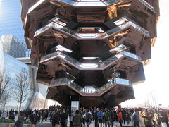 Vessel Stair Case Sculpture Dingus at Hudson Yards 4101 (Brechtbug) Tags: 2019 march visiting the vessel sculpture hudson yards tower near 34th street midtown manhattan new york city nyc 03172019 west side construction center cityscape architecture urban landscape scape view cityview shadow silhouette december close up skyline skyscraper railroad rail yard train amtrak tracks below grown stair stairs buildings above staircase dingus