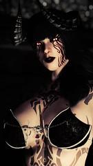 Irkalla - Demonic (DiamondbackVIII) Tags: elder scrolls v skyrim horns dremora facepaint bodypaint slit pupils black sclera red eyes irkalla bra thebat coco