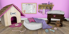 """""""Play time, Kitten."""" (AlyceAdrift) Tags: kitten playtime petplay pet bdsm lifestyle secondlife spanking doghouse petbed toys rules ruleboard leash ball bone foodbowl teddybear flogger paddle pink purple kitty kittenplay love"""