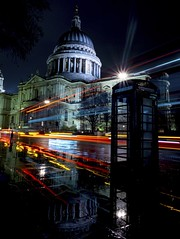 St. Paul's Bus Trails (Douguerreotype) Tags: rain england dark phone light london uk british buildings dome street architecture reflection city cathedral night britain gb urban church