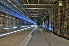 The Time Tunnel (HiJinKs Media...) Tags: bristol bridge night nightphotography nightlife longexposure architecture structure geometry geometric light lines lightpainting lighttrails walls stone road travel graffiti tags dark steel industrial innercitylife beams vanishingpoint leadinglines ashtonavenuebridge bristolharbour