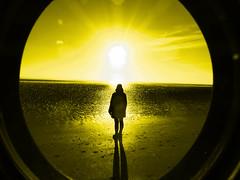 First (Tobymeg) Tags: yellow scotland beach sun lens altered images panasonic dmcfz72 hood
