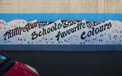 Phillipstown Schools Favourite Colours (Steve Taylor (Photography)) Tags: phillipstownschoolsfavouritecolours handprints car automobile mural streetart black blue mauve white yellow red paint newzealand nz southisland canterbury christchurch shape lines school bonnet windscreen
