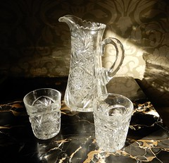 crystal (Just Back) Tags: glass shine polish pitcher crystal old antebellum columbia sc flute table wadehampton reflect refract light physics shadow brilliant sheen