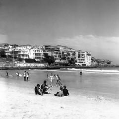 Bondi Birthday (BunnySafari) Tags: yashicamat124g october 2017 bw walkabout australia properocean ocean bondibeach sydney swimmers surfers beach october5