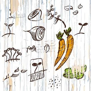 Sketched vegetables menu background