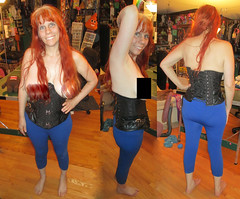 20180526 1923 - fashion show - Carolyn - new corset - (public version) (censored) - 29231903-17241983-00241996 (triptych) (Clio CJS) Tags: 20180526 201805 2018 fashionshow fashionshow20180526 virginia alexandria clioandcarolynshouse upstairs standing posing breast breasts butt clothes legging leggings censored edited carolyn triptych