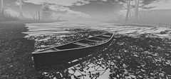 Windhaven (10 MIX) Tags: blackandwhite sl secondlife landscape paysage barque tree water river lake bw metaverse photoshop deepoffield windhaven