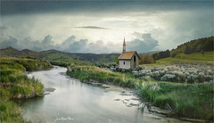 Nobody (Jean-Michel Priaux) Tags: paysage landscape chapel chapelle church nobody river lonesome lonely alone nature paint painting paintingmatte paintmapping savage tower poetic poetry cold sky photoshop capri