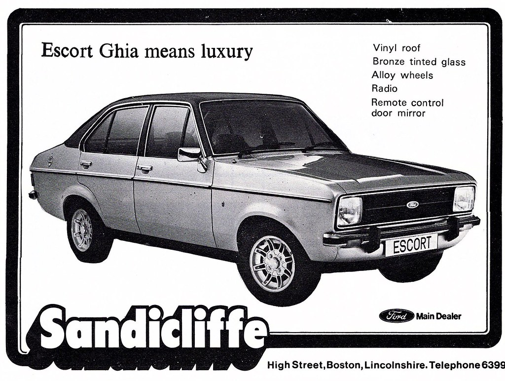 1979 ADVERT - SANDICLIFFE FORD BOSTON LINCOLNSHIRE - FORD ESCORT MK2  (Midlands Vehicle Photographer.