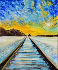Le chemin de fer (Croc'odile67) Tags: oilpainting painting paysage art peintureàlhuile peinture paysages landscape