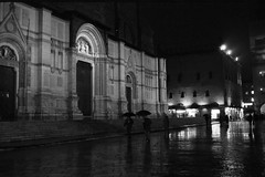 Reiny night (marcotrifoglio) Tags: city citystreet cityscape rein night lights bologna film filmphotography italy italiannight reflectionoflights church blackandwhite square streetview streetlight streetlife
