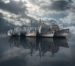 Navy Yard Basin RS -2572 (P.E.T. shots) Tags: usnavy mothball fleet navyyard philadelphia reflection sky water delaware river basin