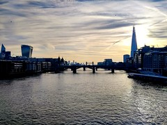 Early morning view of The Thames from The Millennium bridge (laurapage839) Tags: riverthames london city skyline theshard towerbridge