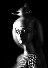 Selket-HMM (☼Jo Zimny Photos☼) Tags: macromondays hardlight lightbox statue figurine blackandwhite light shadow