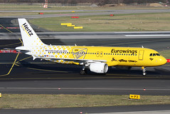 D-ABDU | Eurowings Airbus A320-214 | Dusseldorf International Airport EDDL/DUS | 15/02/19 (MichaelLeung213) Tags: eurowings hertz a320 airbus a320214 dusseldorf eddl dus special livery yellow observation deck taxi