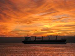 Sunset at Al-Ghandour Beach (Ralph Apeldoorn) Tags: alghandourbeach boat redsea sea ship silhouette sunset akaba jordanië jo
