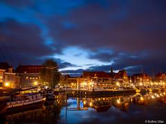 Blue hour in Hoorn (✦ Erdinc Ulas Photography ✦) Tags: bluehour hoorn netherlands city old bridge night blue street landscape dark light houses harbour ship boat clouds nederland holland reflection travel