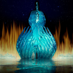 Fire and Ice (Repp1) Tags: bc canada blueplastic tabletopphography blue bleu forks forchettes fantasy fantasie fire feu ocean océan tallship grandvoilier reflection reflexion
