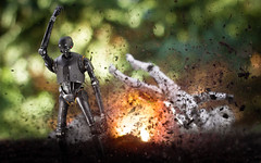 Cool droids don't look at explosions (thereeljames) Tags: k2so starwars stormtrooper toyphotography toys toyphotographers actionfigure film movie