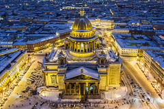 Saint Isaac's Cathedral winter view from air (filchist) Tags: saintisaacscathedral winter viewfromair stpetersburg dusk architecture neoclassicalstyle yellow blue skyline city aerialview color санктпетербург исаакиевскийсобор неоклассицизм вечернийгород закат православной orthodox dji