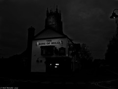 A Light In the Darkness. (Neil. Moralee) Tags: neilmoralee pub publick house dark ring bells church taunton somerset uk night street lights black white bw bandw blackandwhite clouds sky sighn lamp neil moralee olympus omd em5 scene city urban darkness british beer ale cider drink social tradition alcohol alcoholic culture