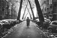 Urban vortex (The Rolling Spoke) Tags: bike bicycle bici bicicleta bicicletta bisiklet fiets fahrrad velo street streetphotography blackandwhite bnw morning monochrome mono snow fog meloncholy january winter urban canon eos5d amsterdam