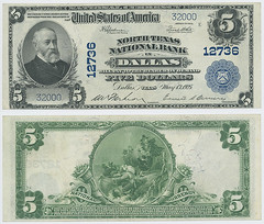 United States $5.00 (five dollars) national currency (SMU Libraries Digital Collections) Tags: texas money national us united states currency paper banks notes note banknote banknotes chartered bank banking dallas dallascounty