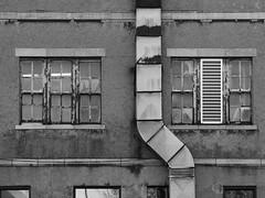 Duct (Nick Condon) Tags: architecture blackandwhite montreal olympus45mm olympusem10 window absoluteblackandwhite olympus