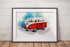 Volkswagen Van (zilvadesigns) Tags: photoshop painting watercolor handdrawing sketchbook sketch art artistic frame realistic realpaint redish red volkswagen van