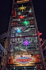 Go Up for Ziplining (podolux) Tags: 2019 april2019 sony sonya7 a7 sonyilce7 ilce7 lights coloredlights lasvegas nevada nv clarkcounty fremontstreet tower neon sign signs neonsign