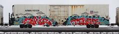 Eerie/Tiles (quiet-silence) Tags: graffiti graff freight fr8 train railroad railcar art eerie tiles ehc etc vrs armn reefer unionpacific armn110138