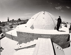 Domed (tsiklonaut) Tags: pentax 6x7 67 film analog analogue analogica analoog 120 roll medium format bw black white negro y blanco mustvalge mv iraan iran yazd architecture woman hijab islamic bright roof cone structure stairs landscape cityscape travel discover experience efke ir820 infrared ir drum scan drumscan scanner pmt photomultipliertube