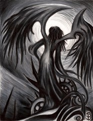 Myrkur (Skyler Brown Art) Tags: angel art artwork bw blackwhite blackandwhite coloredpencil creepy dark darkness depressing drawing emotional fantasy female girl goth gothic ominous paper sad surreal woman