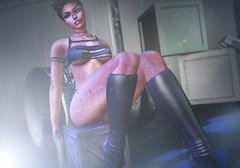 Exhaustion (Camila Runo) Tags: scifi cyber hot sexy secondlife second life sl 2nd virtual world maitreya catwa catya woman girl babe chick gun killer mercenary blood wounds injuries tits boobs high heels boots wet nipples body