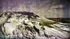 Mount Saint Helens Crater (Eclectic Jack) Tags: yellow stearman plane airplane aviation aircraft helens mount mt state washington process processed processing post topaz software creative kreative crater