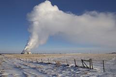 Steam on the Prairie (John Andersen (JPAndersen images)) Tags: bluehour bowriver calgary canon cityskyline cold evening farm fence power steam winter