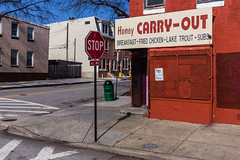 Honey Carry-Out. Baltimore, Md. (Feb. 16, 2019) (Thomas Cluderay) Tags: baltimore baltimoremaryland maryland city photography saturday canon canon6d cornerstore neighborhood carryout blueskies stopsign