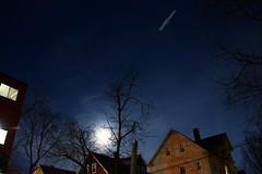 Super Moon,  Super Fast (CaptJackSavvy) Tags: supermoon supersnowmoon fullmoon moon lighttrails light plane suburbs massachusetts arlingtonmassachusetts