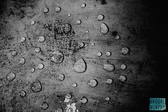 Week 8: Water Drop (bmurphy502) Tags: water waterdrop blackandwhite bnw bw abstract texture black scratch old monochromatic mono noiretblanc directional drops tamron light metal scrap mess 2019p52