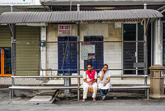 Women waiting for bus in George Town (phuong.sg@gmail.com) Tags: adult bench bus cell city cityscape day expectation female girl life lifestyle outdoor outside people person public red resting romford seniorcitizens setting shelter shopping sit sitting stop street stylish summer talking teenager town transport transportation travel urban wait waiting waitingforbus woman women young