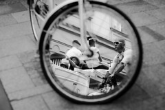 wheel (sylwiana) Tags: bicycle wheel mirror city cracow blackandwhite blackandwhitephotography bnw bnwphotography bnwmood sonya7 sigma50