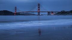 Golden Gate Bridge. (explored) (j1985w) Tags: california sanfrancisco sanfranciscobay goldengatebridge bridge ocean water beach reflection night sky clouds explore explored