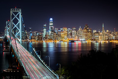 City Views (KurteeQue) Tags: thecity city skyline sanfrancisco california reflection bridge baybridge salesforcetower bayarea thebay bay norcal nikon longexposure trails lights nikonusa nikond850 d850 anything water view views