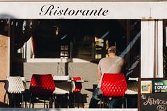 Red Chair (FButzi) Tags: genova genoa liguria italy italia red chair bar restaurant man