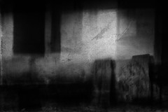 This old cabin (Lucretia My Reflection) Tags: blackandwhite bw forest wood wilderness shadow icm intentionalcameramovement cameramovement movement creepy haunting oldcabin cabin abandoned doubleexposure