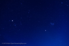 Mars Amid the Taurus Clusters (March 30, 2019) (Amazing Sky Photography) Tags: 85mm astronomytools conjunction fornax hyades lightrack luminar march2019 mars pleiades rokinon taurus twilight evening redplanet starcluster stars